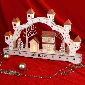 Schwibbogen XL LED Lichterbogen Fensterdekoration Weihnachten Holz Fensterbogen, Variante:Landschaft