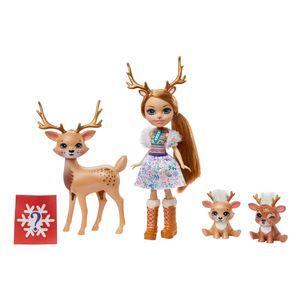 Enchantimals Familien Spielset , Rainey Reindeer Puppe (15,24 cm) mit 3 Tierfiguren
