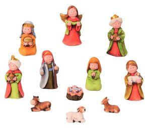 Krippenfiguren Set 11 teilig Krippe Kindergesicht Weihnachten