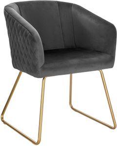WOLTU BH271dgr-1 1 Esszimmerstuhl Küchenstuhl Polsterstuhl Wohnzimmerstuhl, Sitzfläche aus Samt, Metall Gold Beine, Dunkelgrau