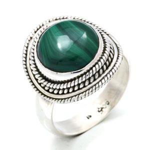Malachit Ring 925 Silber Sterlingsilber Damenring grün (MRI 126-10),  Ringgröße:58 mm / Ø 18.5 mm