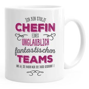 Kaffee-Tasse Ich bin stolze Chefin eines ungeheuer fantastischen Teams Geschenk Spruch MoonWorks® weiß unisize