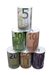 $ 6er Set Euro SPARDOSE Blech Nicht zu öffnen Dose Sparen Blechdose 5/10/ 20/50/ 100/200/ 500 $