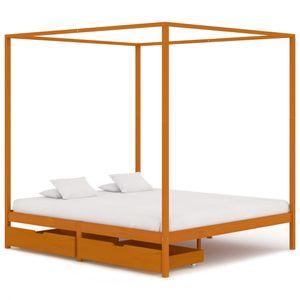 Desginer 160x200 cm Doppelbett Holzbett Himmelbett-Gestell Bettgestell mit 2 Schubladen Massivholz Kiefer ☆2011