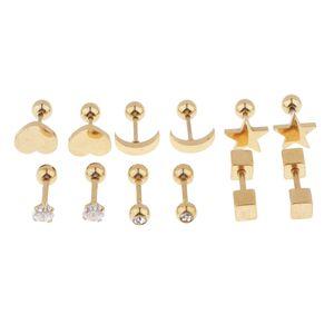 6 Paar Edelstahl Kugelkopfschraube Ohrringe Star Heart Studs Farbe Golden
