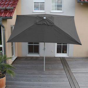 Sonnenschirm N23, Gartenschirm, 2x3m rechteckig neigbar, Polyester/Alu 4,5kg  anthrazit