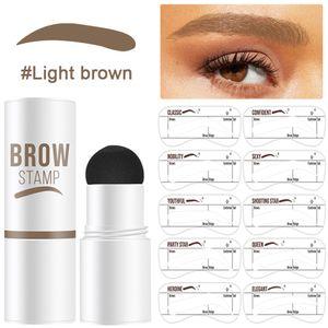 Augenbrauen Schablone, Eyebrow Stamp, Eyebrow Powder, Augenbrauen Stempel,10 Sätze Wiederverwendbaren Wasserfestes Augenbrauen-Puder-Set, Hellbraun