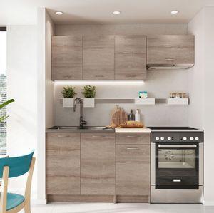 Mirjan24 Küche Mela 180, Küchenzeile, 5 Schrank-Module frei kombinierbar, Küche-Set, Küchenmöbel (Trüffel/Petra Beige)