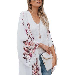 Frauen Summer Beach Blumendruck Langarm Chiffon Kimono Strickjacke mit offener Vorderseite XXL XXL