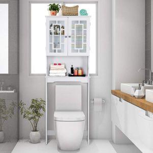 COSTWAY Toilettenschrank freistehend, Badezimmerregal, Waschmaschinenschrank, Toilettenregal, WC-Reagl, WC-Schrank, Überschrank, Waschmaschinenregal mit 3 Regalen, weiß