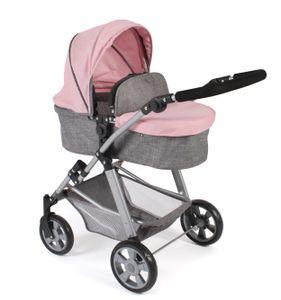 Puppenwagen Nele, melange grau-rosa