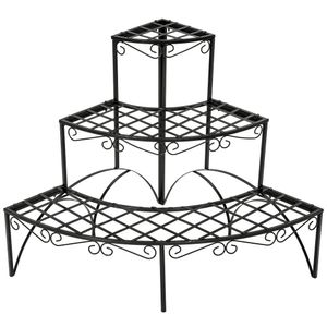 tectake Blumentreppe mit 3 Stufen rund - schwarz