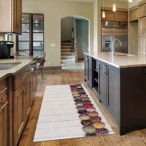 Siela Waschbarer Teppich rutschfest Küchenteppich pflegeleicht strapazierfähig und schadstoff Versch. Muster und Größen (Weiß-60x200cm)