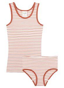 Sanetta Pure Mädchen Unterwäschegarnitur zweiteilig im Rostroten Ringel-Design, Farbe:Rot, Größe:104