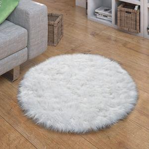 Kunstfell Fellteppich Imitat Sitzkissen Herfzorm Rund Verschiedene Formen, Weiß, Grösse:Ø 120 cm Rund
