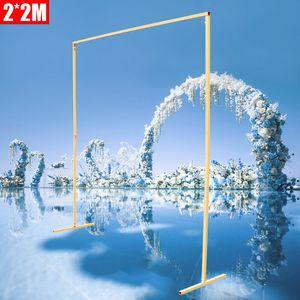 2*2m Hochzeitsbogen Eisen Quadratische Hochzeit Bogen Gartenbogen Requisiten Metall runden Rahmen Hintergrund Dekor Hochzeitszeremonie (Gold)
