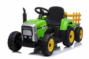 ES-Toys Kinder Elektro Traktor mit Anhänger, 2 Elektro Motoren, Fernbedienung