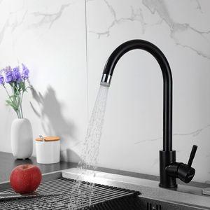 360° drehbar Küchenarmatur Einhebelmischer Spültischarmatur aus Edelstahl, schwarz Wasserhahn mit 2 Strahlarten für jede Küche geeignet