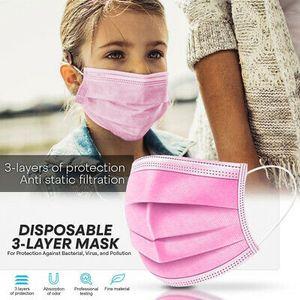 100 Stk Kinder Einwegmasken Rosa Kindergesichtsmaske Einweg-3-lagige Mundmaske