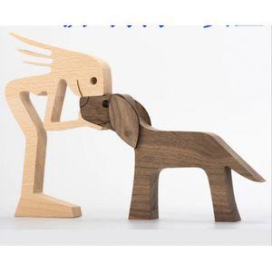 Hand Geschnitzte Woode Welpen Menschliche Statue Figurine Nordic Hund Skulptur Tier Decor Hause Regal Büro Desktop Ornamente Geburtstag Geschenk Holz 18 x 15 x 1,2 cm Handgeschnitzte Statue