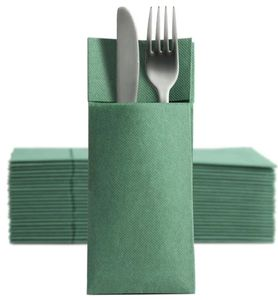 50 Softpoint Besteckservietten Bestecktaschen grün