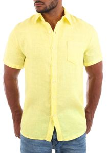 Young & Rich Herren Leinenhemd kurzarm körperbetonte Passform sommerlich leichter 100% Leinenstoff Slim Fit T3158, Grösse:XL, Farbe:Zitronen-Gelb