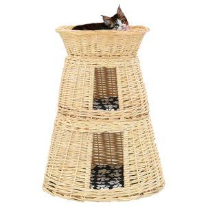 TOP® 3-tlg. Katzenkorb-Set mit Kissen Transportkorb ,Transportbox für Katzen Hunde 47 x 34 x 60 cm Natur Weide
