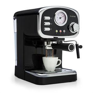 Klarstein Espressionata Gusto - Espressomaschine, Retro-Design, 1100 W Stromverbrauch, 15 Bar Druck, 1,25 Liter abnehmbarer Wassertank, Dampfdüse, Temperaturanzeige, Siebeinsatz, schwarz