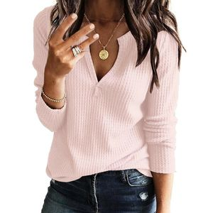 Damen Sexy V-Neck Sweater Strickwaren Keller Pullover Pullover,Farbe: Pink,Größe:S