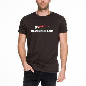 Fußball Fan Shirt Deutschland Fussball T-Shirt Unisex kurzarm Damen Herren S-XXL, Größe:L, Farbe:schwarz, Style:Unisex
