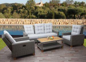 Gartengarnitur HWC-G28, Sitzgruppe Lounge-Set Sofa, Akazie Holz halbrundes Rattan verstellbar  grau, Kissen hellgrau