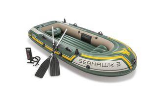 INTEX 68380 Schlauchboot Seahawk 3 mit Pumpe und Paddel, 295 x 137 x 43 cm, dunkelgrün, gelb, grau, Maximale Tragfähigkeit: 360 kg