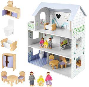 Puppenhaus aus Holz mit Terrasse, Möbeln und Puppen - 3 Spielebenen in Weiß