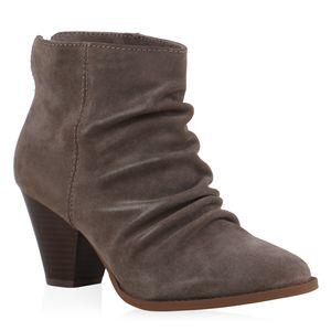 Mytrendshoe Damen Stiefeletten Ankle Boots 835511, Farbe: Mocca, Größe: 38