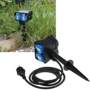ChiliTec Gartensteckdose mit Erdspieß, 4-fach IP44, 10m Kabel