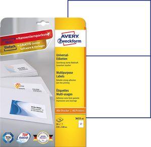 AVERY Zweckform Universal Etiketten 210 x 148 mm weiß 20 Etiketten