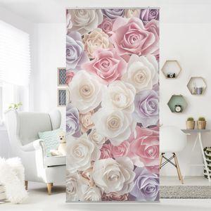 Raumteiler - Pastell Paper Art Rosen 250x120cm, Aufhängung:ohne Halterung