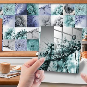 24 Stück Blumen Wasserdichte Mosaik Fliesen Aufkleber Wohnkultur Wandbild,Farbe: 4# Löwenzahn,Größe:15x15cm