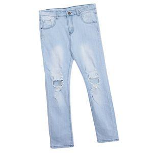 Herren Ripped Straight Ripped Distressed Stretch Slim Fit Jeans Hellblau 2XL wie beschrieben