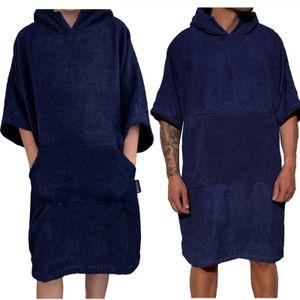 Homelevel Damen und Herren 100% Baumwolle Bademantel Poncho Badeponcho Strandponcho Handtuch Cape Frottee Badetuch mit Kapuze Dunkelblau L/XL