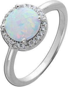 Synthetischer Opal Ring weiß blau schimmernd Silber 925 Zirkonia  20