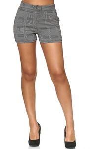 Damen Shorts Kariert Kurze Sommer Hose Hahnentritt Muster D2422, Farben:Grau, Größe:XL-XXL