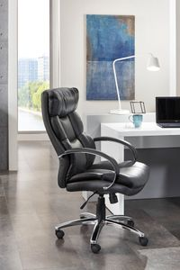 HOMEXPERTS Chefsessel PUSH-XXL, Drehstuhl mit gepolsterten Armlehnen und Wippmechanik, Schreibtischstuhl bis 150 kg belastbar