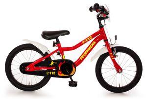 Feuerwehr Kinderfahrrad 16 Zoll Fahrrad für Kinder Junge Mädchen Kinderrad Rot