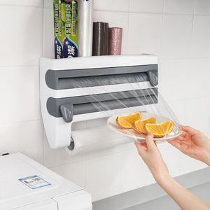 Küchenrollenspender Wand-Rollenhalter ABS Frischhaltefolie Schneidabroller Spender Ablage Grau
