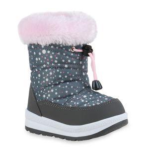 Mytrendshoe Kinder Warm Gefütterte Winter Boots Bequeme Stiefel Prints Schuhe 836090, Farbe: Grau Rosa Weiß Muster, Größe: 28