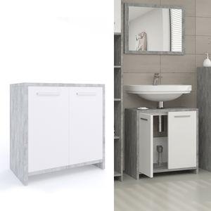 Waschbeckenunterschrank KIKO Weiß Grau Beton - Unterschrank Waschbecken  Waschtisch Unterschrank Badschrank Kommode