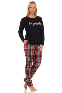 Damen Pyjama lang mit Karohose und Frontprint - auch in Übergrössen bis Gr. 60/62 - 202 820, Farbe:schwarz, Größe:36/38