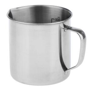 Edelstahl Küchenlabor Griff Wasser Flüssigkeit Messbecher Becher 500ml Größe 500 ml