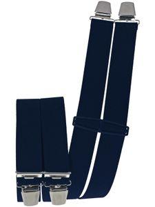 Hosenträger mit 4 extra starken  Clips uni Farben, Farben:marine